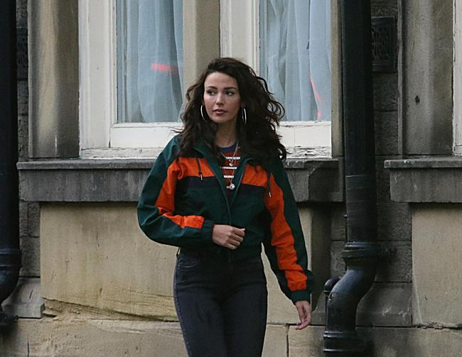 Michelle Keegan was spotted filming in Bacup for new Sky One show, Brassic. Pic: Steven Smith.