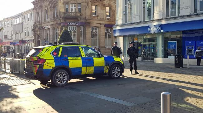 Armed police in Blackburn at the weekend