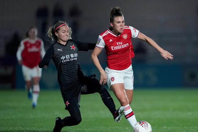 Arsenal's Katrine Veje in Champions League action against Slavia Prague earlier this season