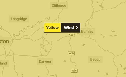 Yellow weather warning for wind in East Lancashire