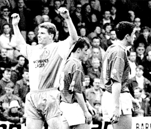 GREAT SCOT: Duncan Shearer scoring his first Rovers goal on his debut