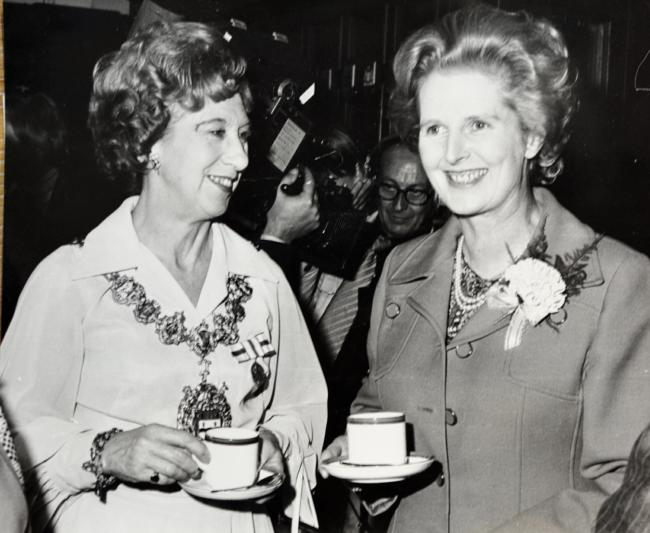 Her life was to change two years later, but here is Margaret Thatcher MP chatting with the Mayor of Blackburn, Coun Mrs Nen Bramley Haworth during her visit to Ewood Park, Blackburn, in 1977