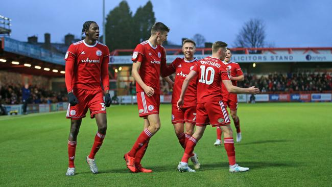Accrington Stanley celebrating after scoring against Portsmouth in their 4-1 win