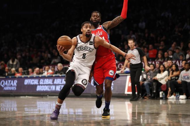 Spencer Dinwiddie scored 24 points in the Brooklyn Nets' 20-point victory over the Philadelphia 76ers