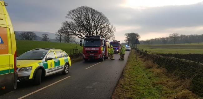 Emergency services attending the crash on the B6160 at Bolton Abbey. Picture Martyn Hughes