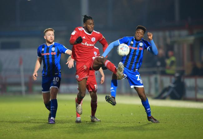 Jerome Opoku in action for Accrington against Rochdale on New Year's Day