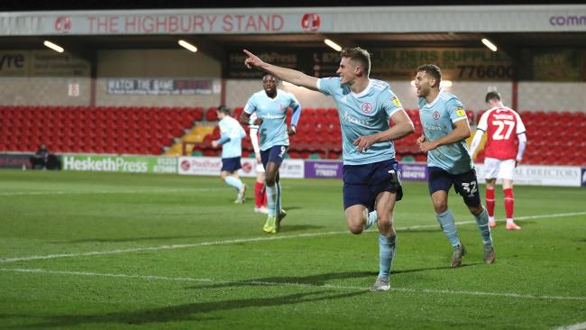 Joe Pritchard, celebrating his goal at Fleetwood, says he is looking forward to the pressure of having to fill in for Sean McConville Picture: KIPAX