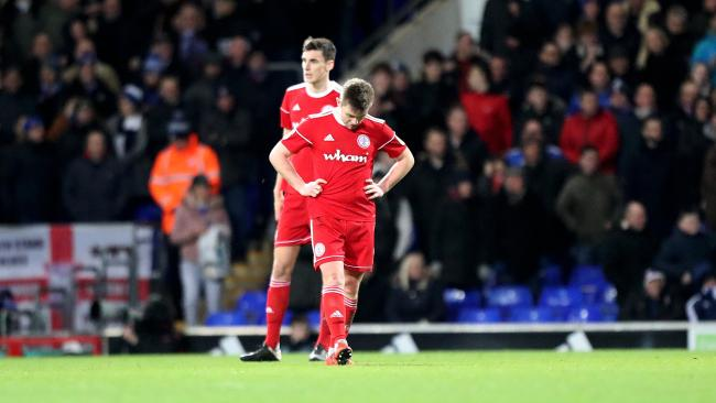 Sam Finley looks dejected after Ipswich Town score another goal in Stanley's 4-1 defeat at Portman Road Pictures: KIPAX