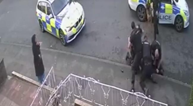 A still from the CCTV footage of the police arrest in Lonsdale Street, Accrington