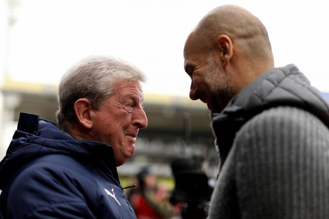 Pep Guardiola, right, faces Roy Hodgson this weekend