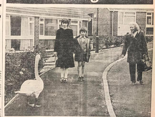 Mark and Jane Aspinall with Gwen Bradshaw and the swan