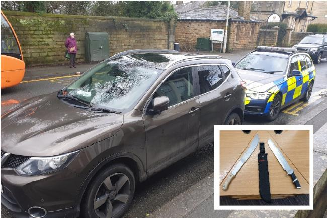 Two machetes and drugs stash found in stolen car stopped by armed police