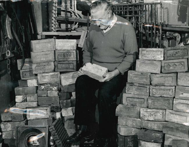 Henry Holt of Waterfoot with his brick collection in 1976