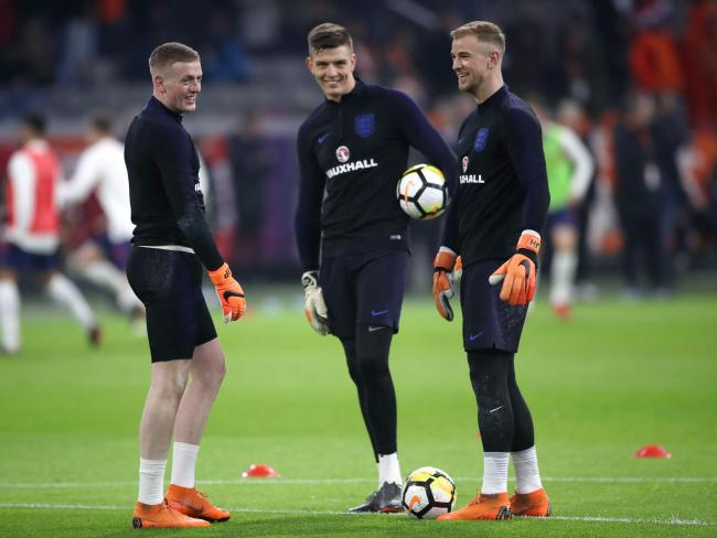 Jordan Pickford with Nick Pope and Joe Hart