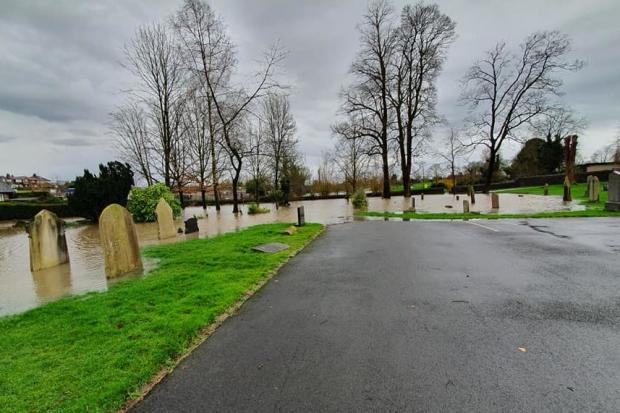 Flooding at Clitheroe Cemetery off Waddington Road. PIC: Sarah Briggs
