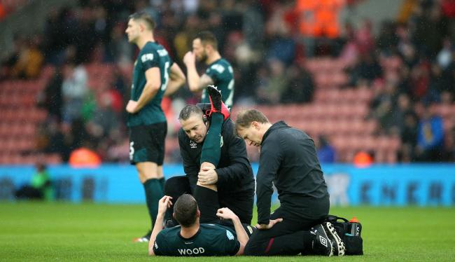 Chris Wood receives treatment at Southampton