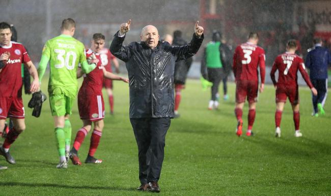 Stanley boss John Coleman celebrates after last week's 4-3 win over Lincoln City