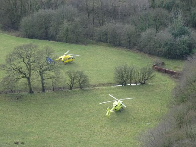 Two air ambulances from yesterday's incidents