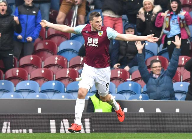 Burnley's Chris Wood celebrates scoring his side's first goal of the game during the Premier League match at Turf Moor, Burnley..