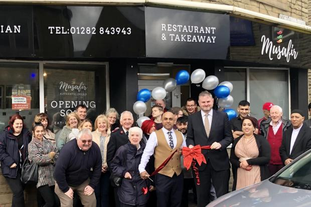 Pendle MP Andrew Stephenson officially opens the Musafir Indian Restaurant in Earby