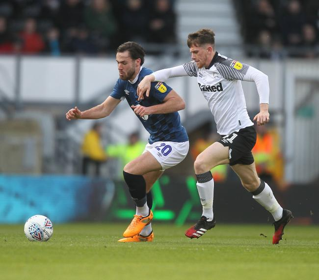 Ben Brereton started for Rovers in their defeat at Derby County pre-lockdown