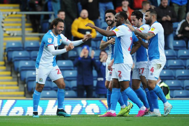 Rovers players celebrate Bradley Dack's goal against Huddersfield in October