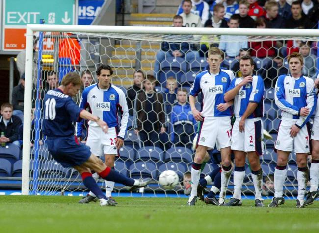 Teddy Sheringham put Portsmouth ahead at Ewood Park