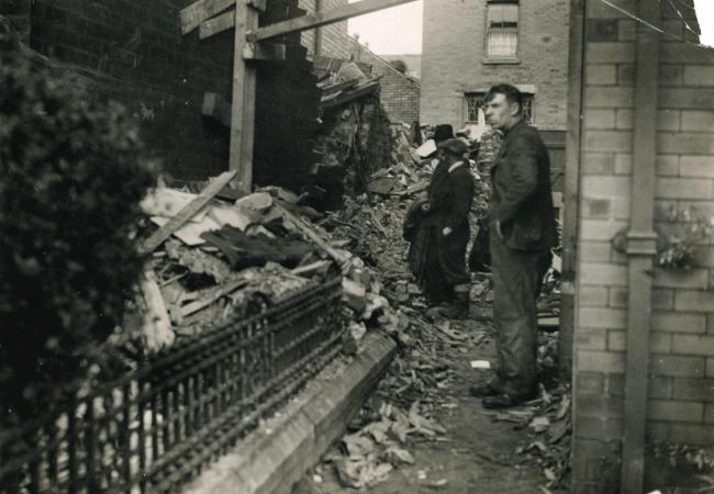 A house in Stansfield Street, Darwen, destroyed by a German bomb in October 1940