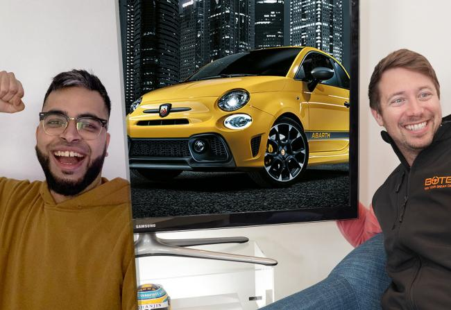 Hussain Patel was stunned to win the Abarth 595 Competizione. BOTB presenter Christian Williams delivered the good news via videocall