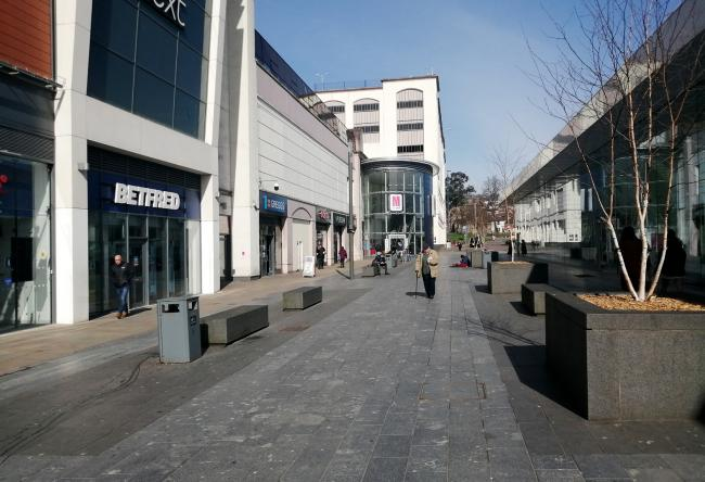 Blackburn town centre empty during the coronavirus pandemic.