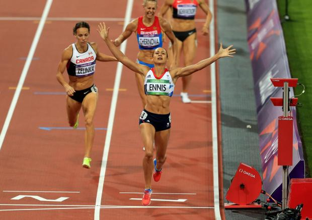 Lancashire Telegraph: GOLD: Great Britain's Jessica Ennis celebrates winning the Heptathlon, after the 800m event during day eight of the London 2012 Olympic Games at the Olympic Stadium, London. Picture: PA Wire