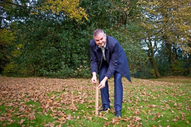 Andrew Stephenson MP with planted tree