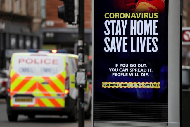 Police patrol the streets of Glasgow as the UK continues in lockdown to help curb the spread of the coronavirus. PA Photo. Picture date: Friday April 3, 2020. See PA story HEALTH Coronavirus. Photo credit should read: Andrew Milligan/PA Wire.