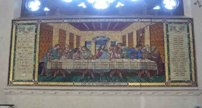The Last Supper mosaic from the memorial to the fallen in Hollins Grove Congregational Church, Darwen, and (below) the names of those from the church who died in the First World War