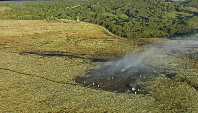 Lancashire Fire Service's drone team took this aerial picture of crews working to extinguish the fire on Winter Hill this morning