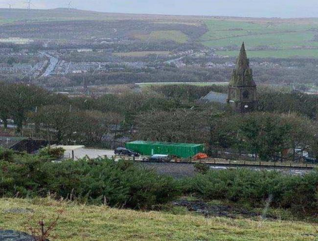 New welfare unit at Margaret Haes Riding Centre as seen from Holcombe Hill