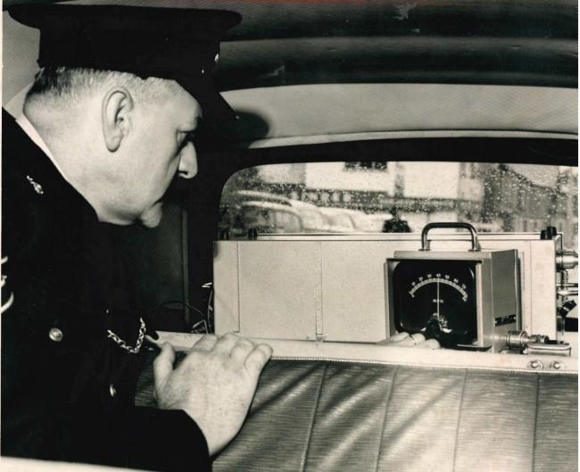 Sgt Tom Clarkson with the new radar set in 1963