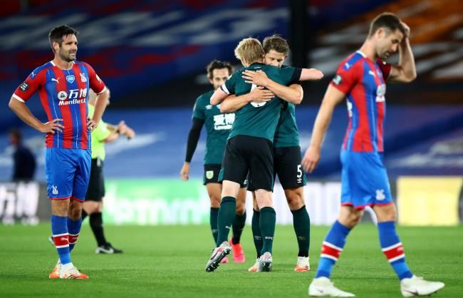 James Tarkowski celebrates victory at Crystal Palace with Ben Mee
