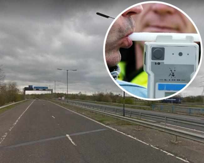 The driver was stopped on the M61 and blew five times over the limit