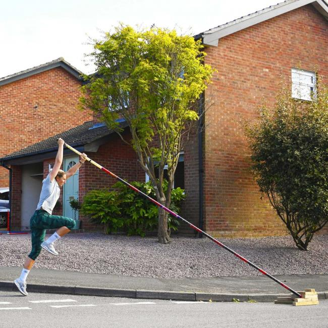 Holly Bradshaw training at home