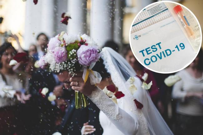 Police have broken up a wedding reception in Blackburn. Stock photo of a wedding with a covid-19 test inset.