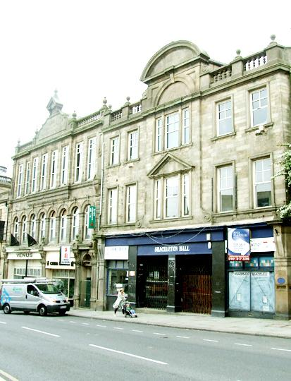 Colne town centre shops. Shackleton Hall..