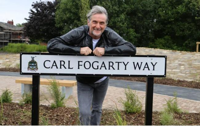Suerbike legand Carl Fogarty on the road that bears his name