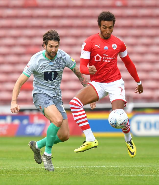 Charlie Mulgrew made a rare appearance for Rovers in their June defeat at Barnsley