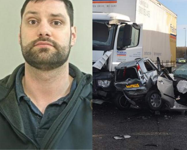 Distracted lorry driver jailed after killing woman in motorway pile-up