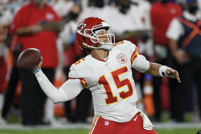 Kansas City Chiefs quarterback Patrick Mahomes throws a touchdown pass