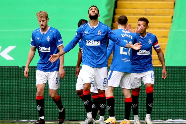 Rangers' Connor Goldson celebrates scoring against Celtic