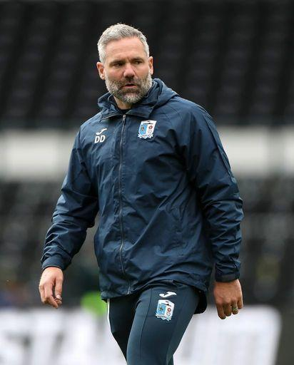 Barrow manager David Dunn before the Carabao Cup first round match at Pride Park, Derby..