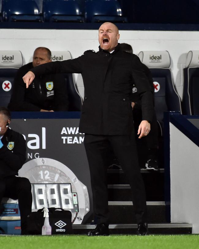 Burnley manager Sean Dyche on the touchline at The Hawthorns