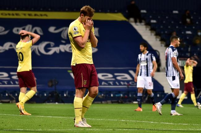 Burnley's Chris Wood reacts to a missed chance during the Premier League match at The Hawthorns